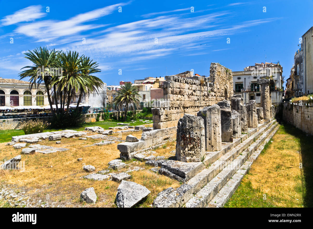 Temple of Apollo, ancient Greek monument in Ortigia, Syracuse, Sicily - Stock Image