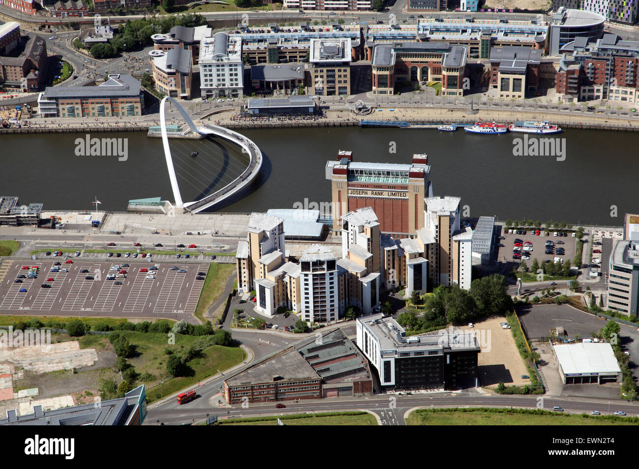 aerial view of The Baltic, River Tyne, Gateshead and Newcastle upon Tyne, UK - Stock Image