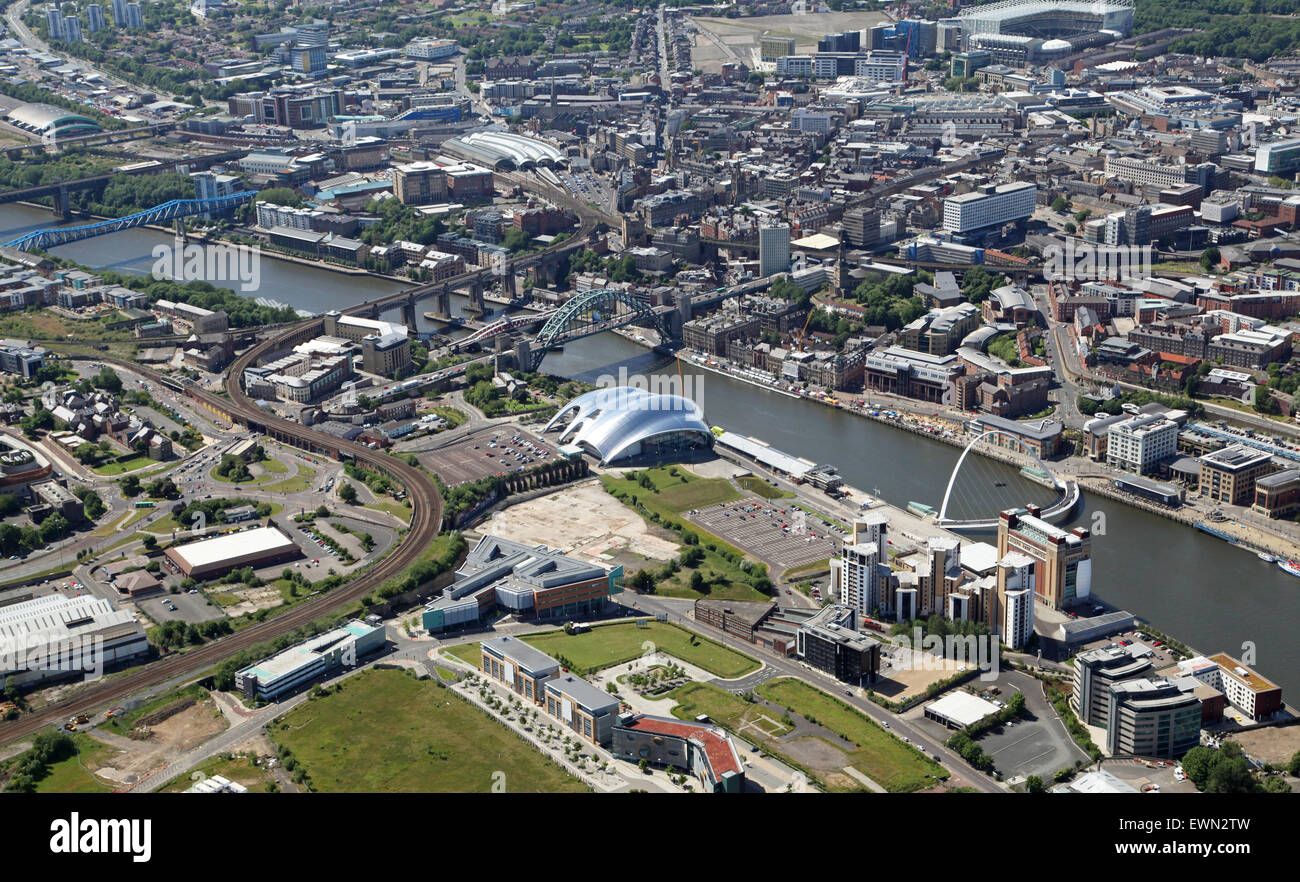 aerial view of The River Tyne, Gateshead and Newcastle upon Tyne, UK Stock Photo
