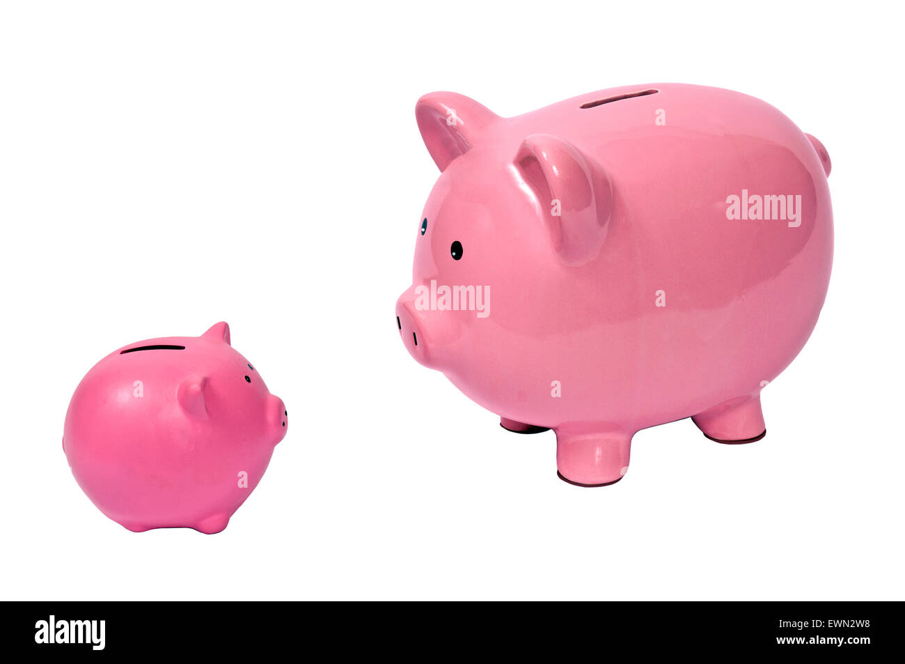 Piggy bank parent discusses finances and the importance of saving with child.  Horizontal shot.  Isolated on white - Stock Image