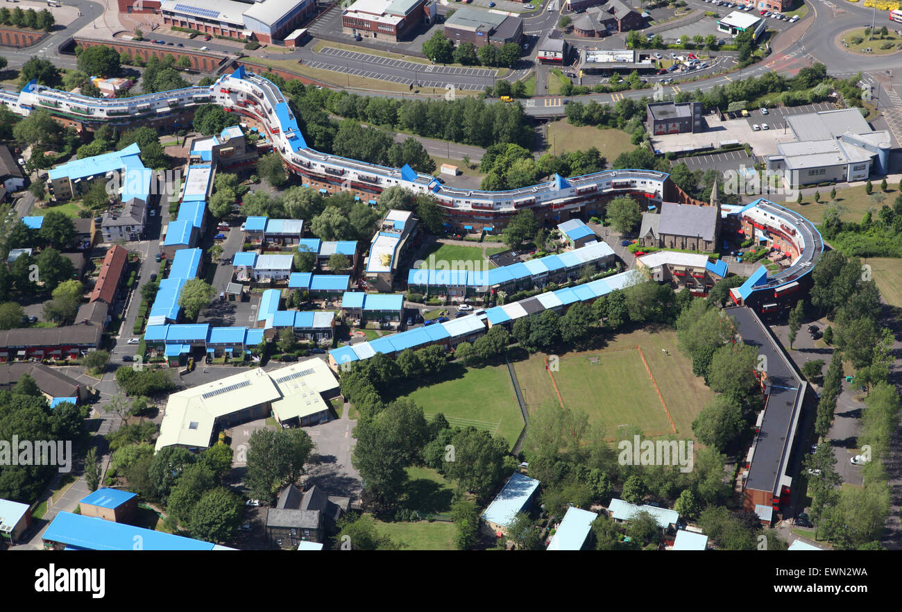 aerial view of council housing at Byker, Newcastle upon Tyne, UK - Stock Image