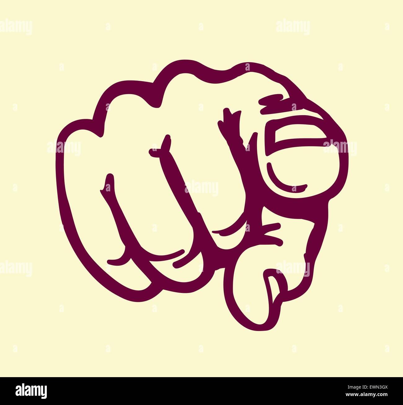 I want you! vintage pointing finger vector illustration, design element - Stock Vector