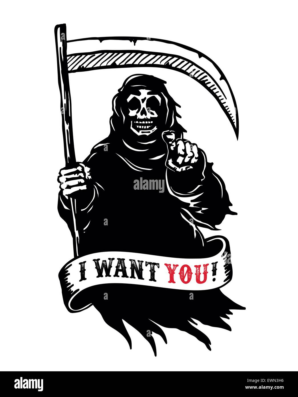 Grim reaper with scythe in dark hooded cloak, death pointing finger. I want you dead! black and white vector - Stock Image