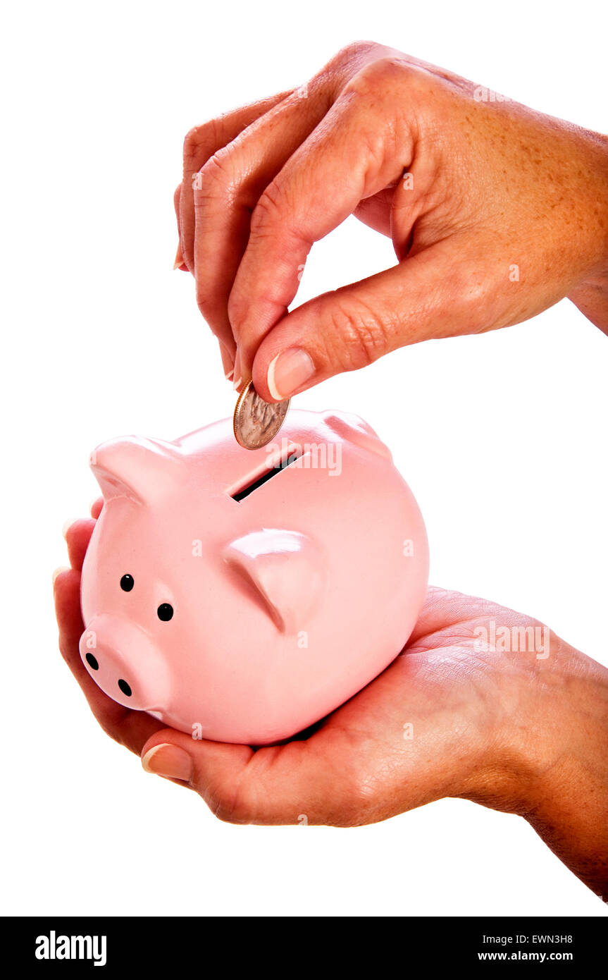 Hands holding piggy back and coin.  On white background - Stock Image