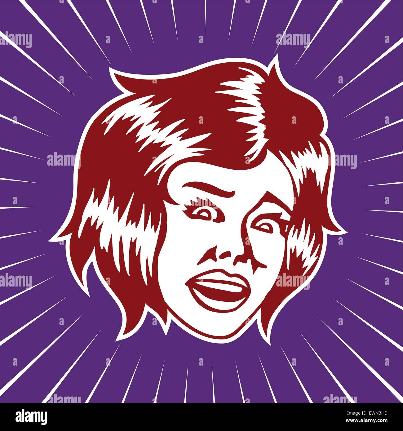 Vintage scared terrified woman face looking at something shocking vector illustration - Stock Vector