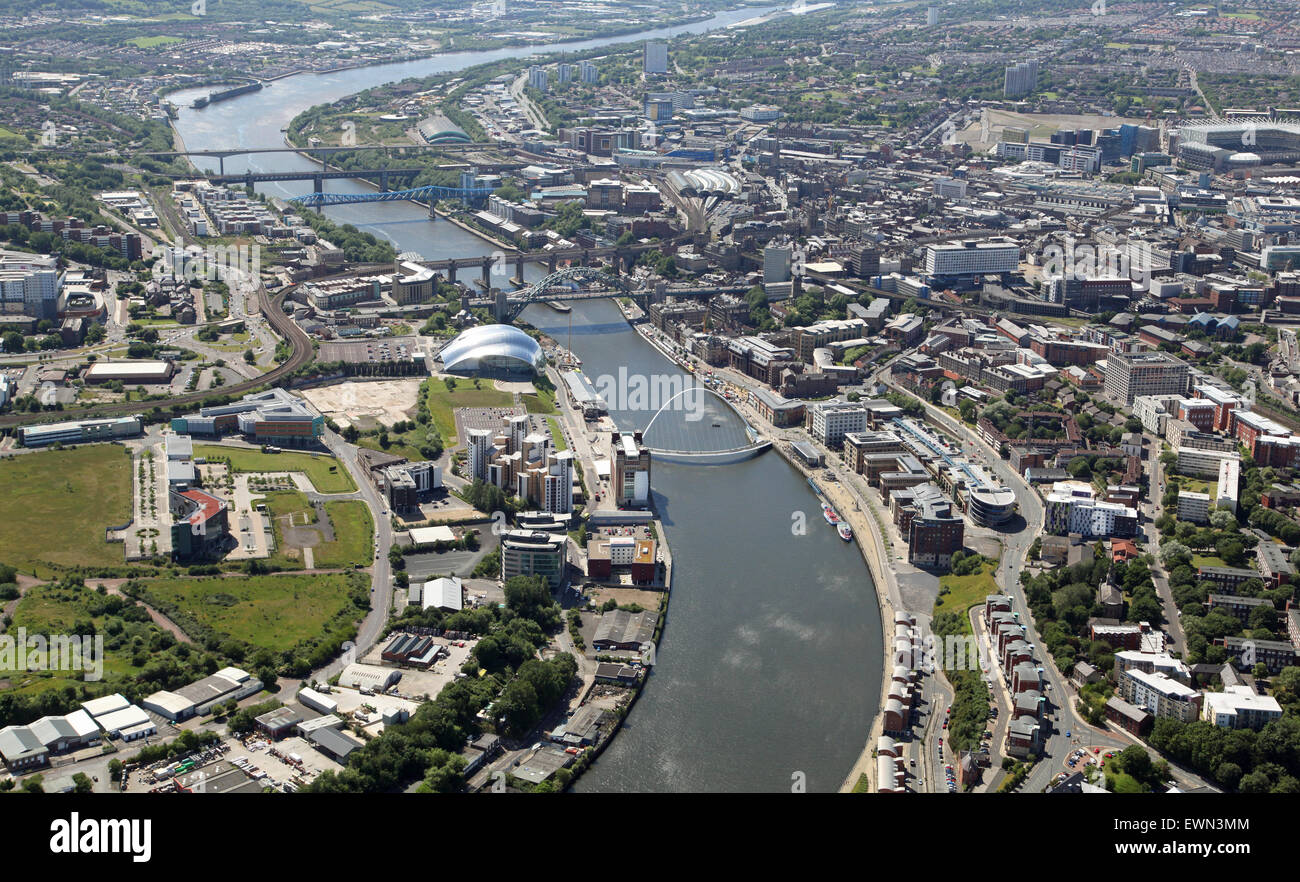 aerial view of The River Tyne, Gateshead and Newcastle upon Tyne, Tyne & Wear, UK Stock Photo