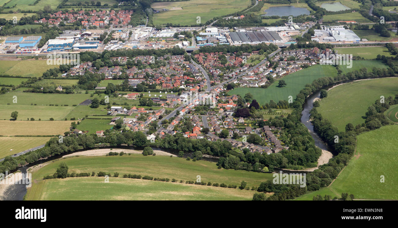 aerial view of Brompton on Swale village near Richmond, North Yorkshire, UK - Stock Image
