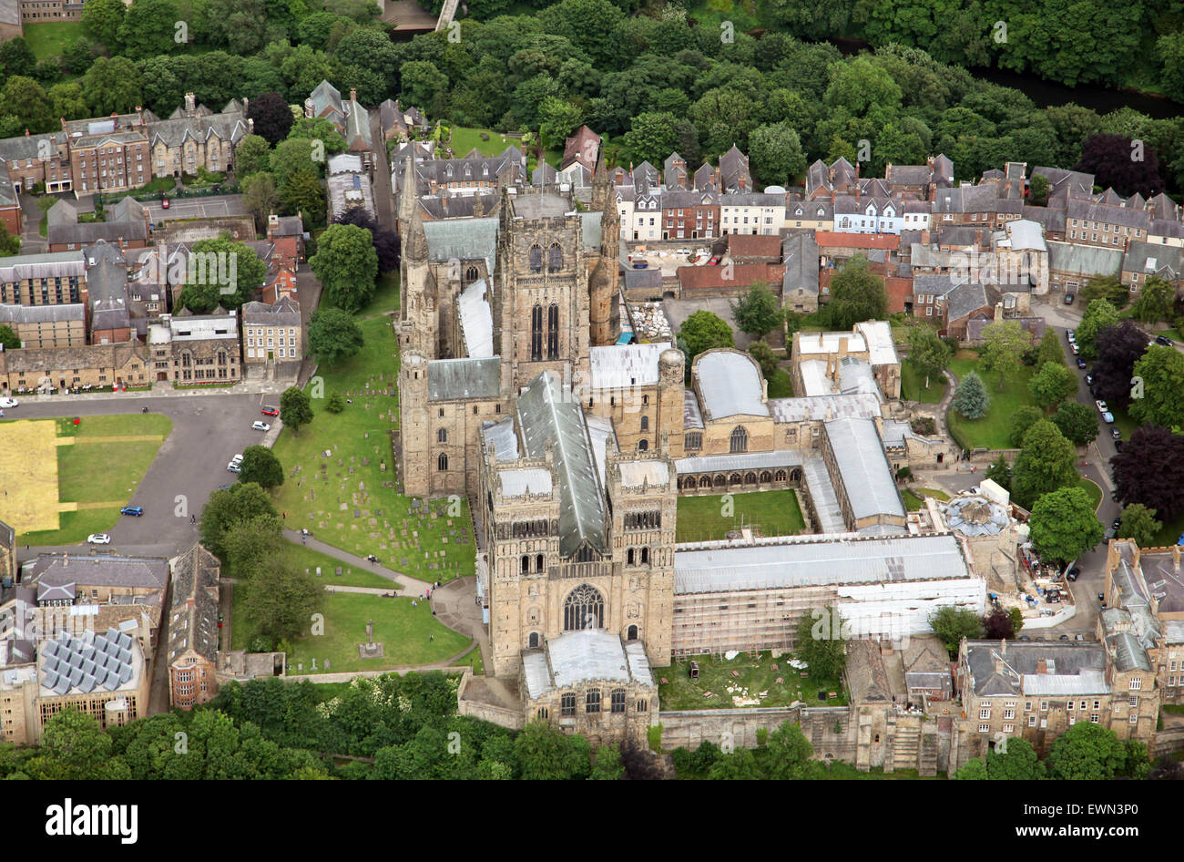 aerial view of Durham Cathedral and University, UK - Stock Image