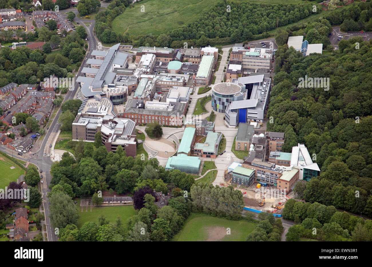 aerial view of various Durham University colleges just south of the city centre, Durham, UK - Stock Image
