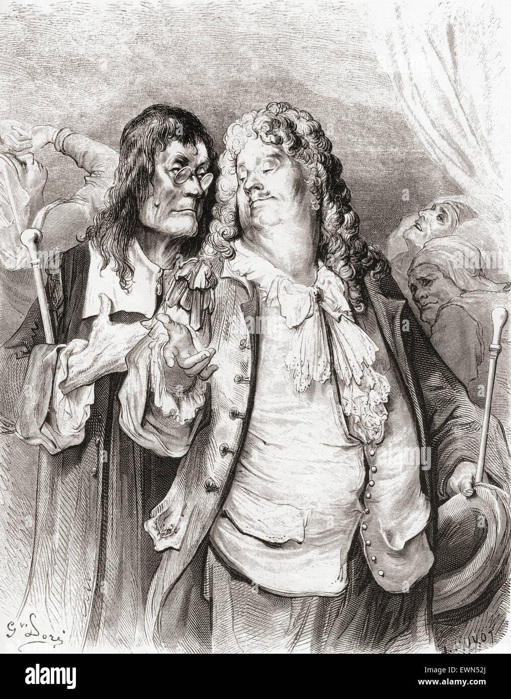 Gustave Doré's illustration of La Fontaine's fable The Doctors, Les Médecins. - Stock Image