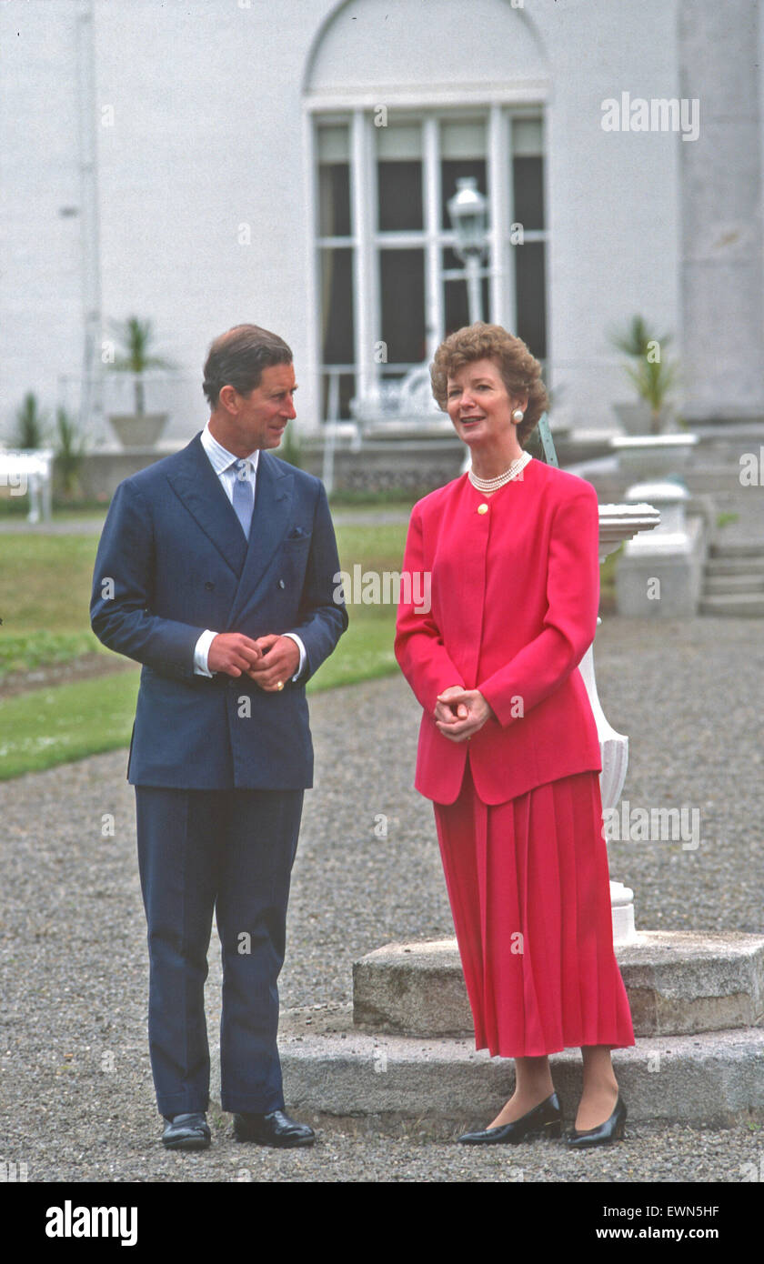 PRINCE CHARLES WITH IRISH PRESIDENT MARY ROBINSON - Stock Image