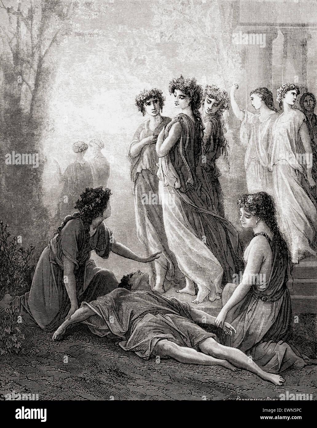 Gustave Doré's illustration of La Fontaine's fable Daphnis et Alcimadure. - Stock Image