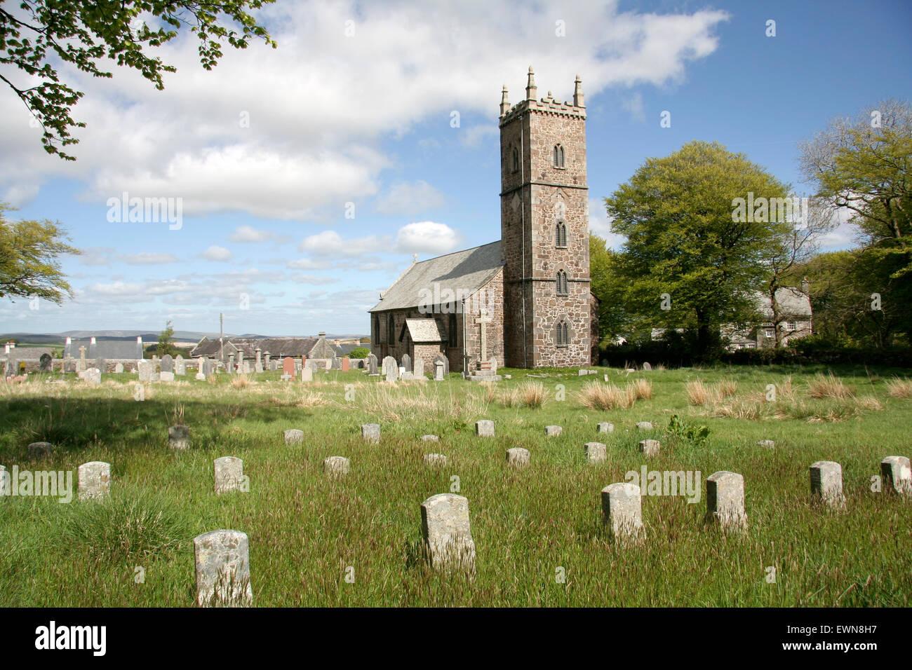 Prisoners headstones Princetown Dartmoor Devon England UK - Stock Image
