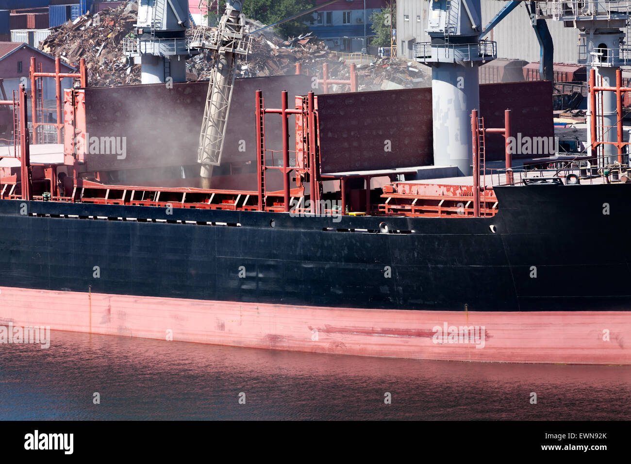 bulk carrier grain loading - Stock Image