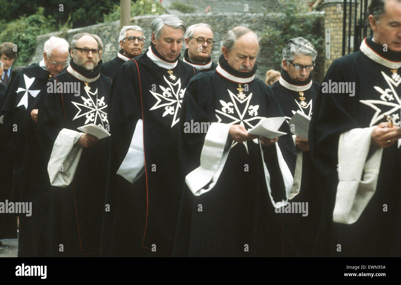 Knights of Malta in procession. Duke of Norfolk   is third from left - Stock Image