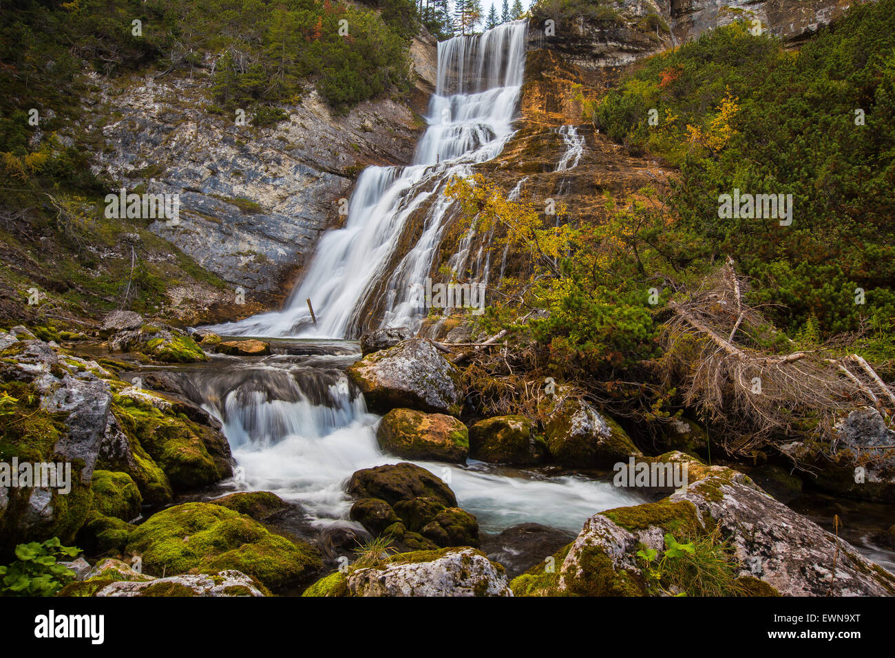 The Fanes waterfalls.  The Dolomites. Parco Naturale Dolomiti d'Ampezzo. - Stock Image