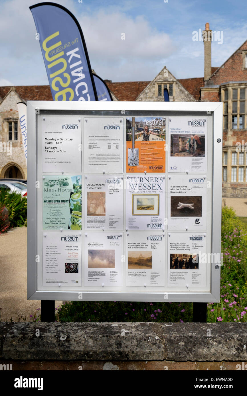 Museum notice board advertising events and exhibitions - Stock Image