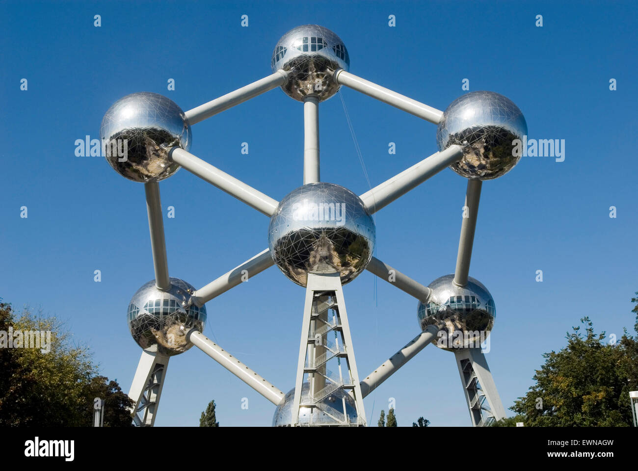 Atomium, Worldfamous Monument of a iron atomic nucleus, in 2018 60th anniversary, Brussels Belgium Europe - Stock Image