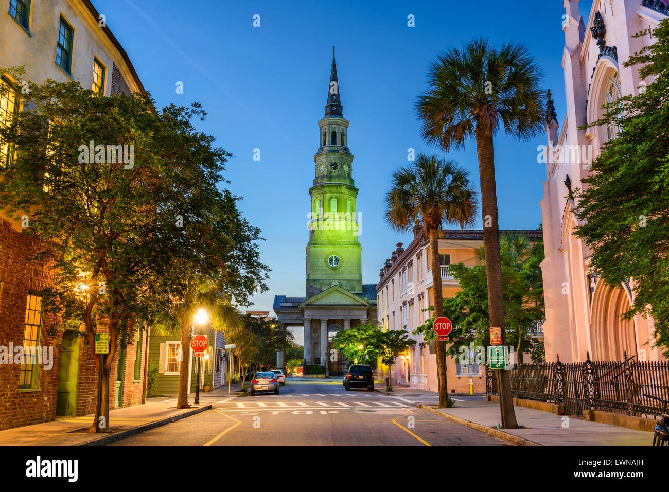 Charleston, South Carolina, USA view of the French Quarter at Twilight. - Stock Image