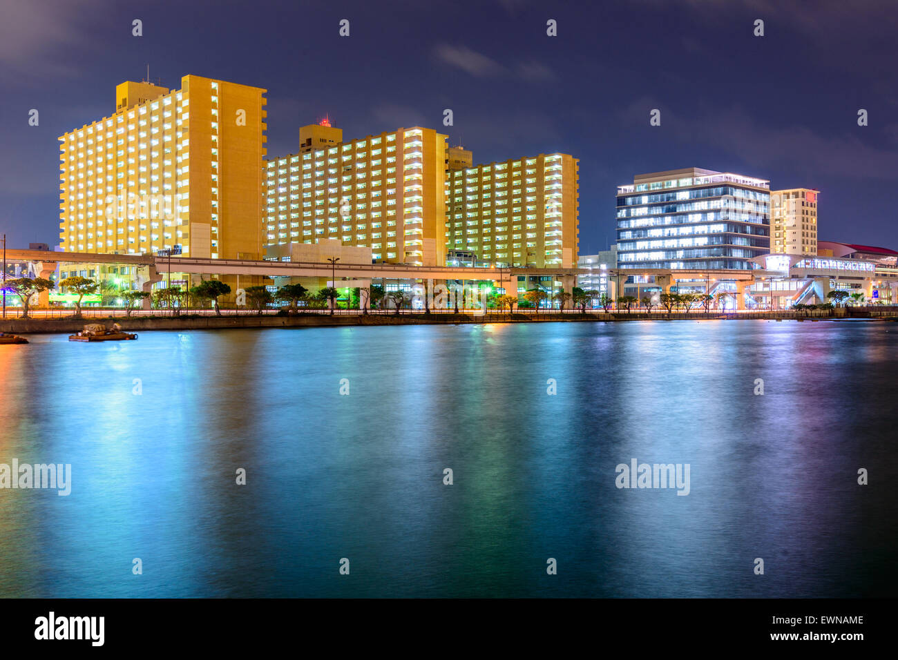 Naha, Okinawa, Japan night cityscape. - Stock Image