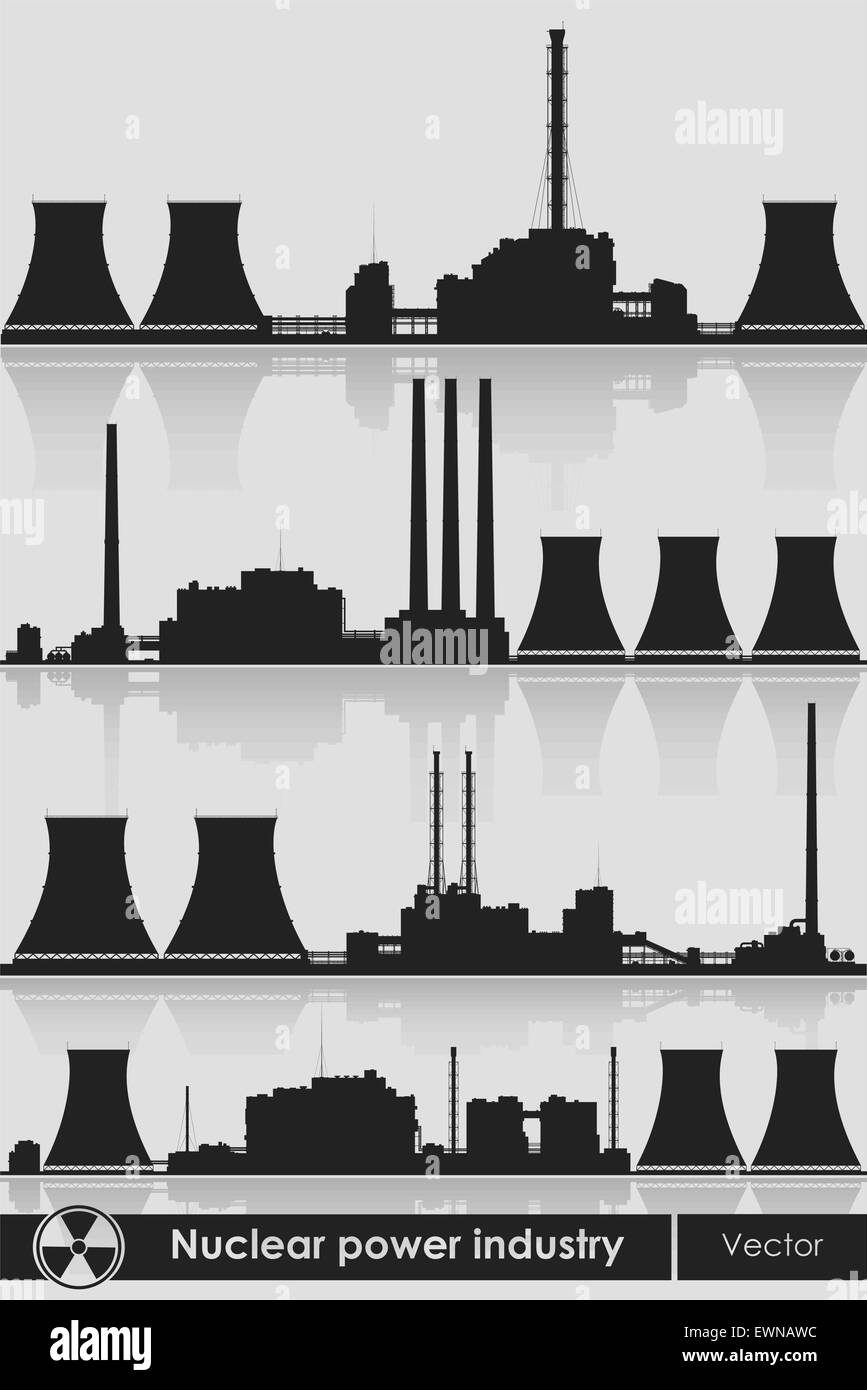 Silhouettes of a nuclear power plants. Vector illustration. - Stock Image