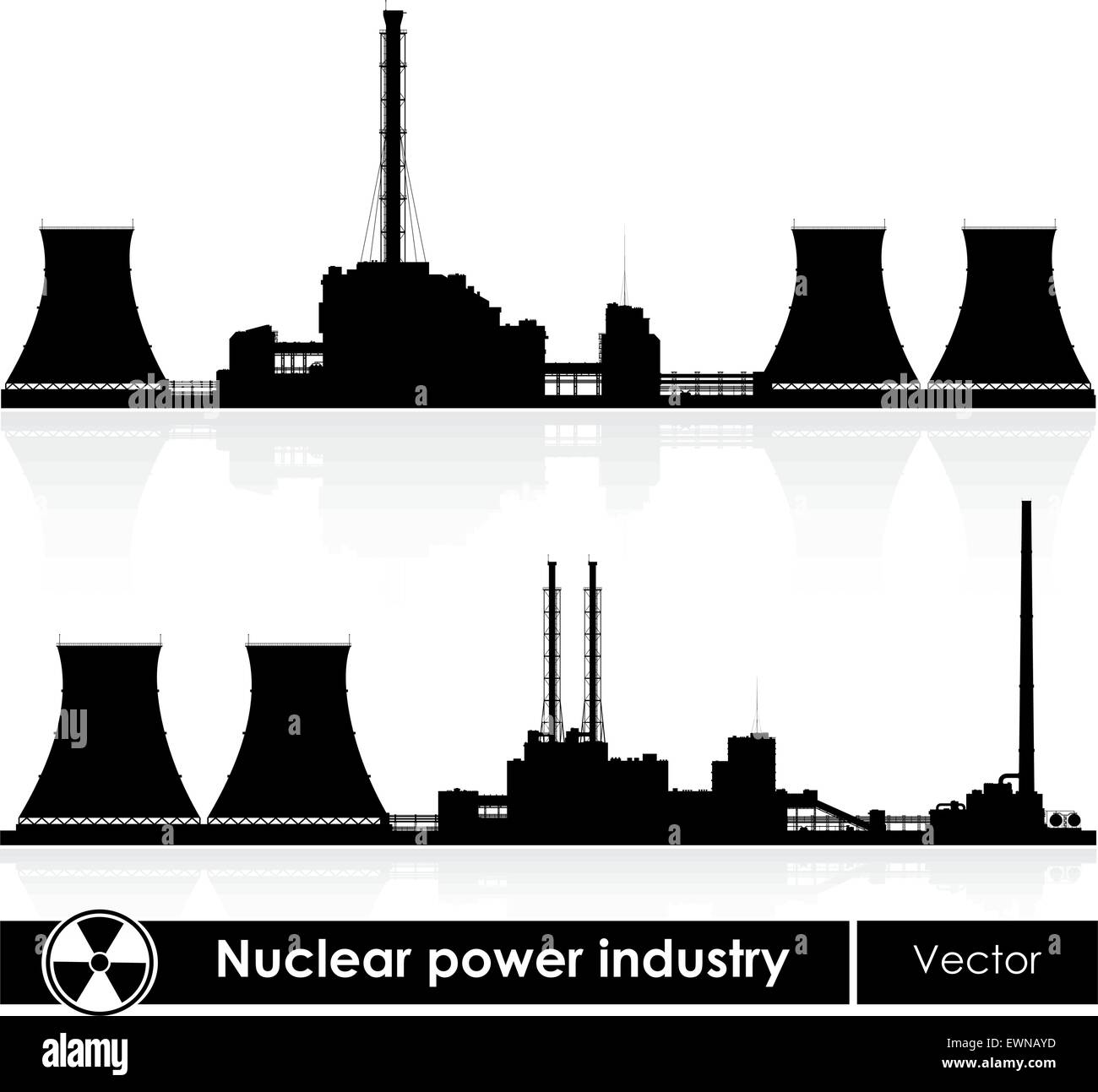 Silhouettes of a nuclear power plants isolated on white. Vector illustration. - Stock Vector