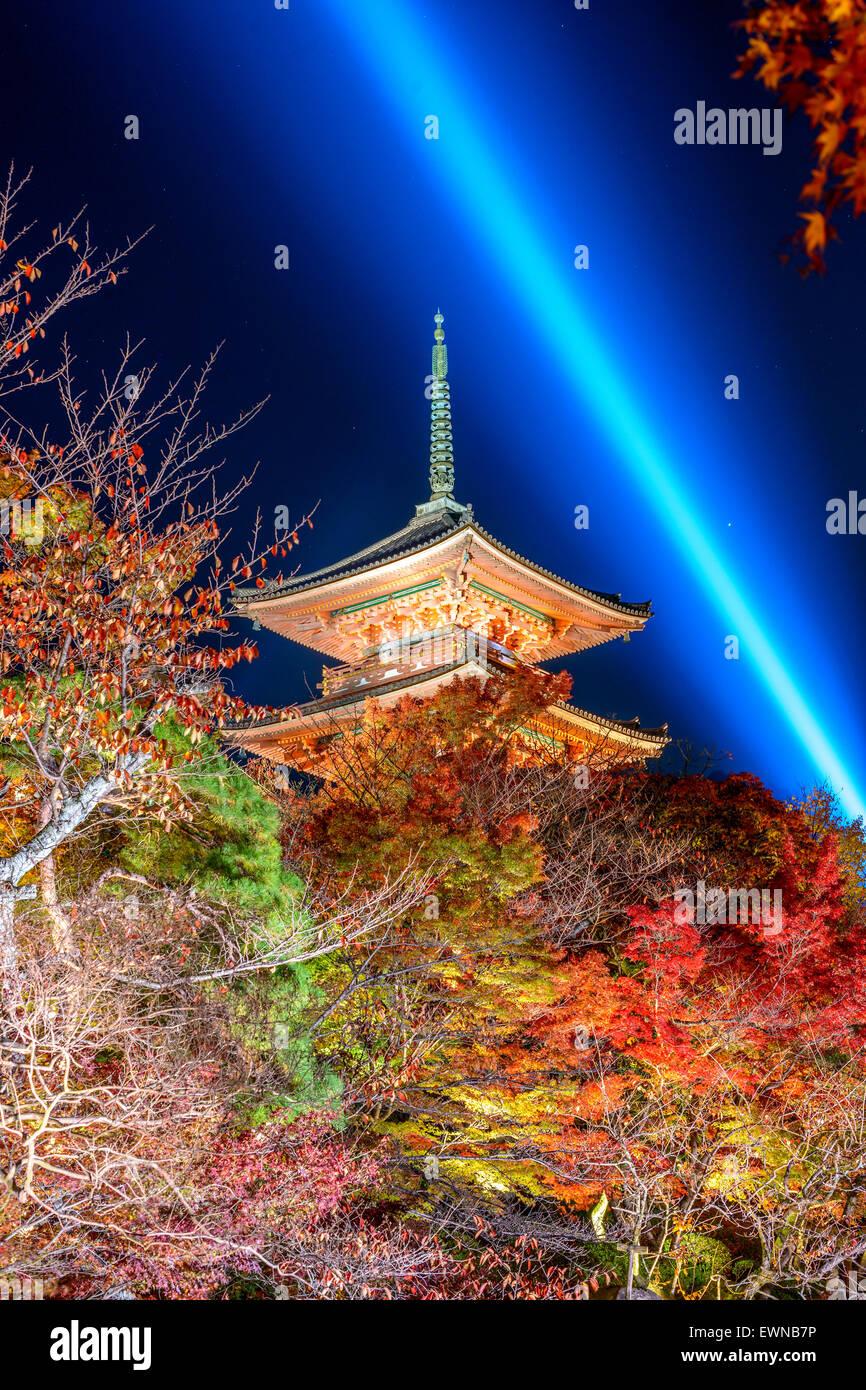 Kyoto, Japan at the pagoda of Kiyomizu-dera Shrine at night. - Stock Image