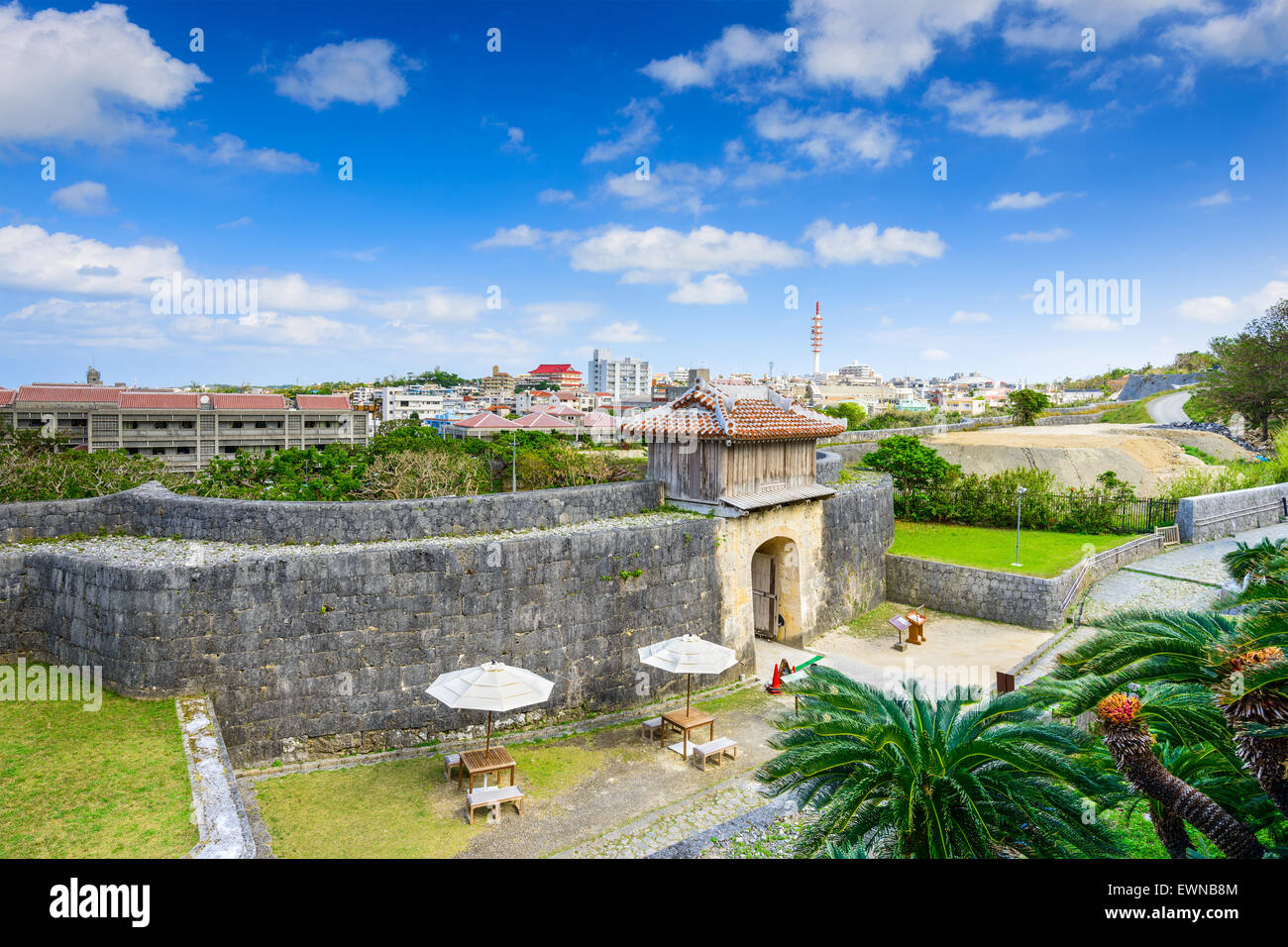 Naha, Okinawa, Japan at the outer wall of Shuri Castle. - Stock Image