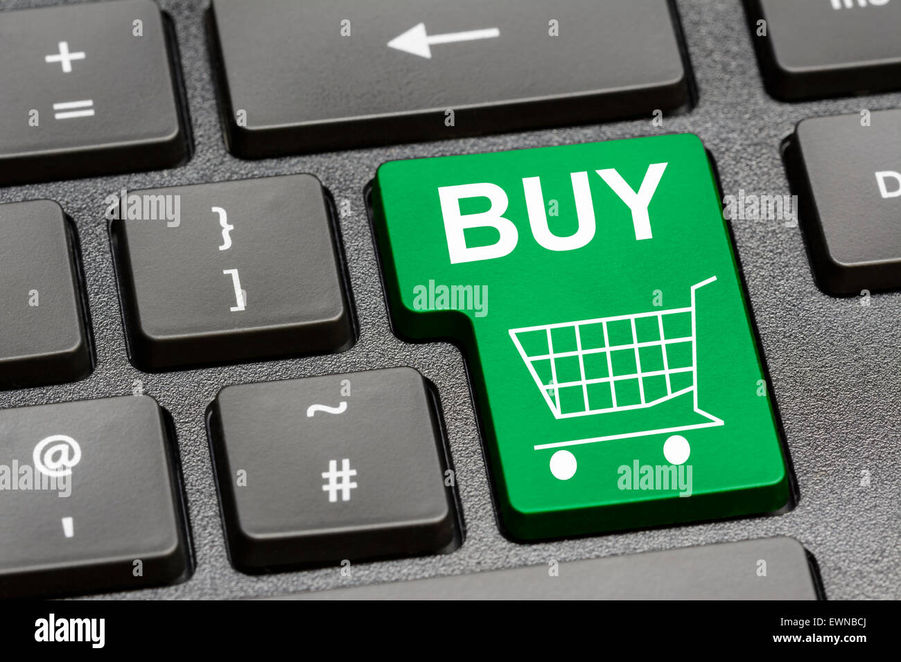 Computer keyboard with a Buy button for online shopping on the Internet. - Stock Image