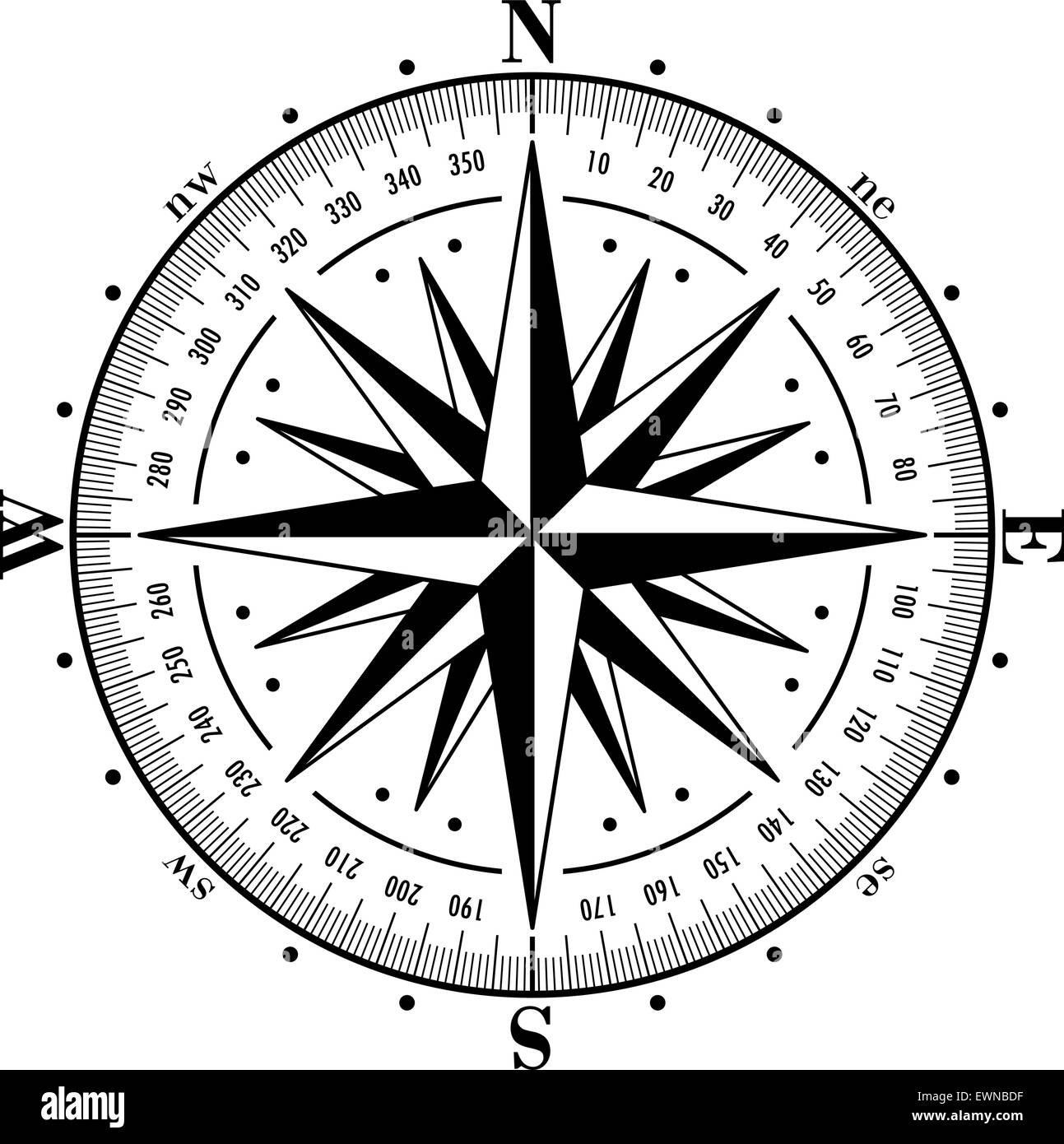 Compass Rose Isolated On White Vector Illustration Stock Vector Art