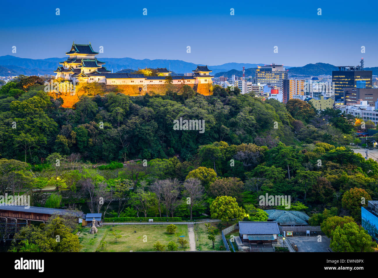 Wakayama, Japan Castle and downtown cityscape. - Stock Image