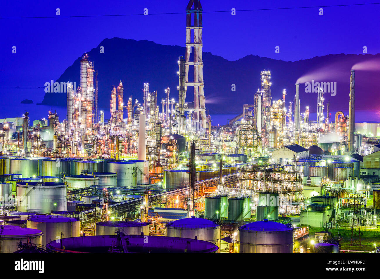 Oil refineries of Wakayama, Japan. - Stock Image
