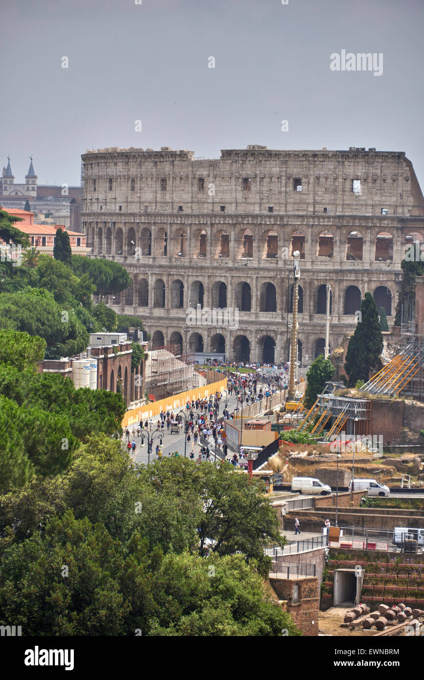 The Colosseum or Coliseum, is an elliptical amphitheatre in the centre of the city of Rome, Italy Stock Photo