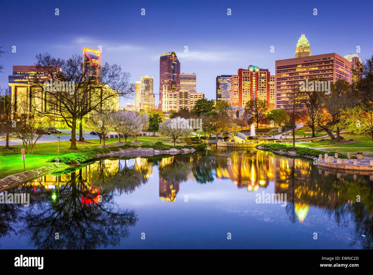 Charlotte, North Carolina, USA uptown skyline at Marshall Park. - Stock Image