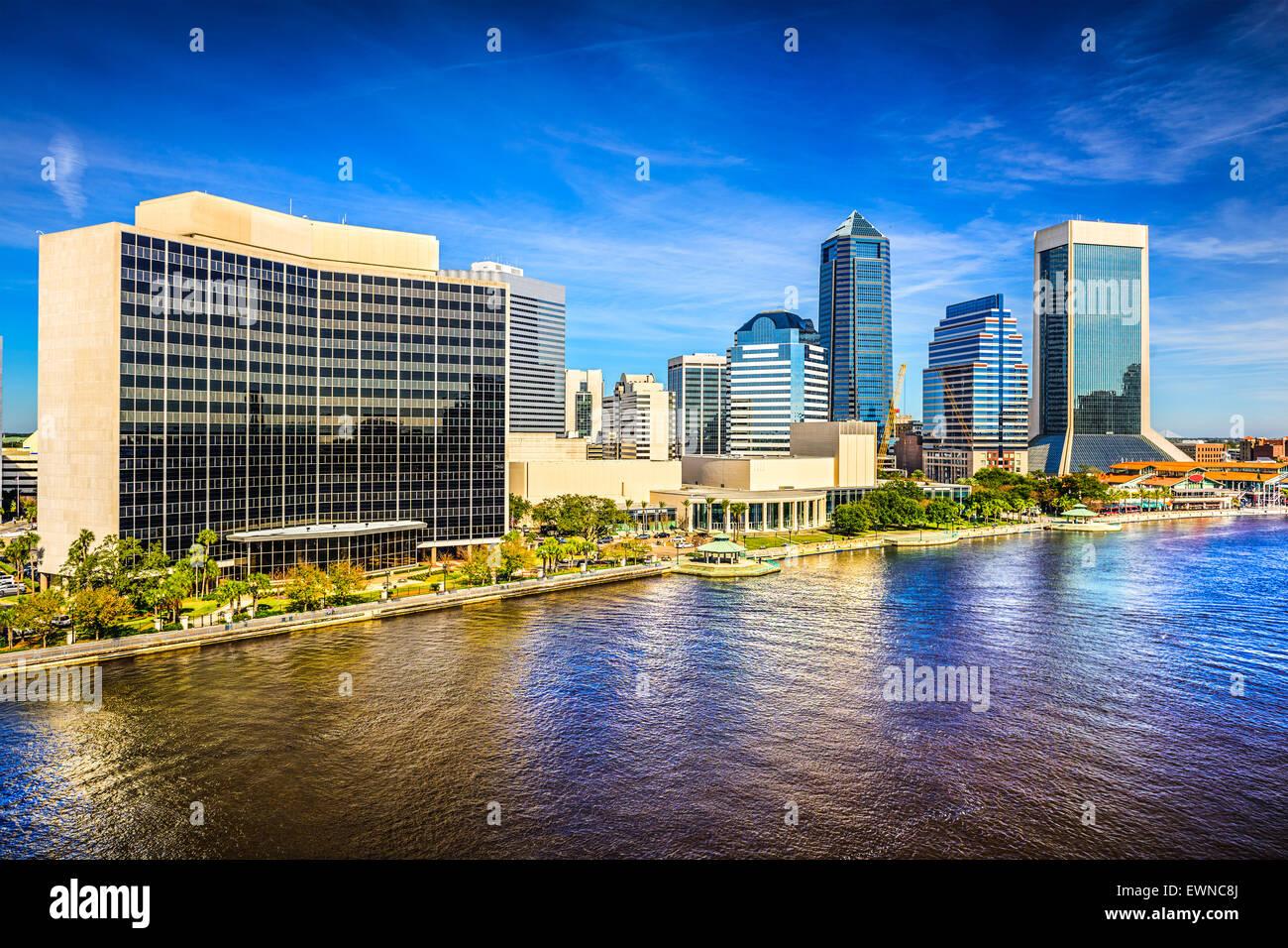 Jacksonville, Florida, USA downtown city skyline on St. Johns River. - Stock Image