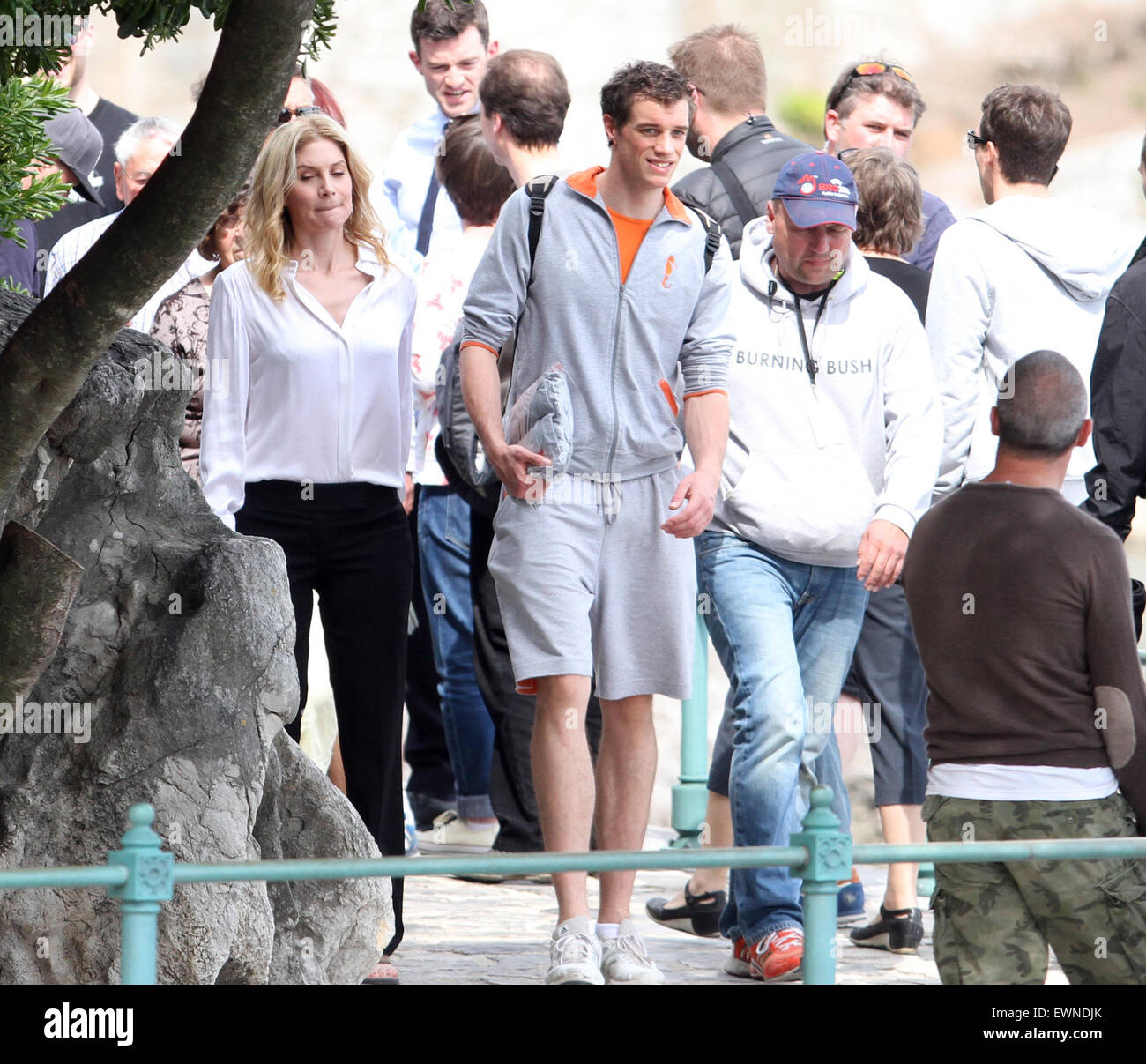 the cast of the tv series crossing lines filming in opatija stock