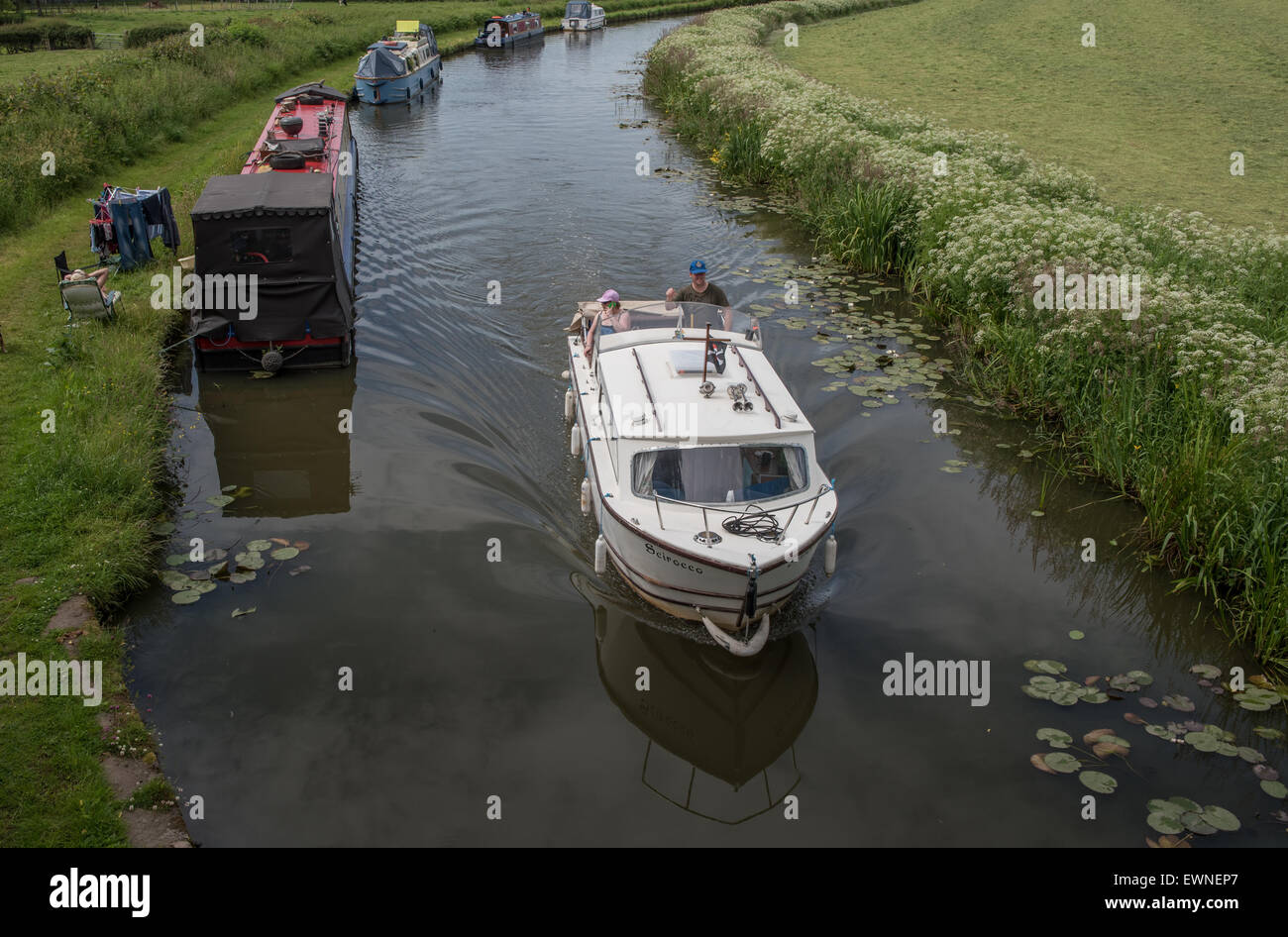 Boating on the Lancaster Canal - Stock Image