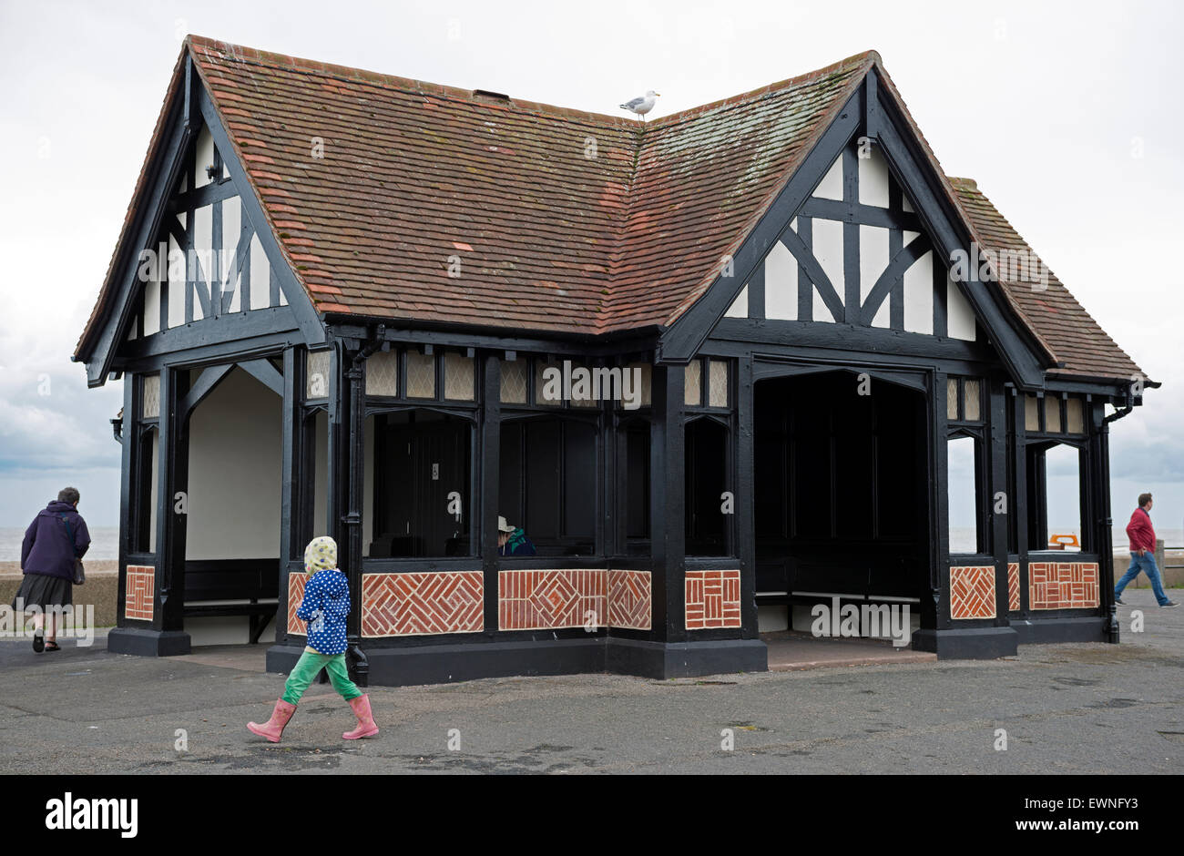 Historic wood framed shelter and public toilets, Aldeburgh, Suffolk, UK. - Stock Image