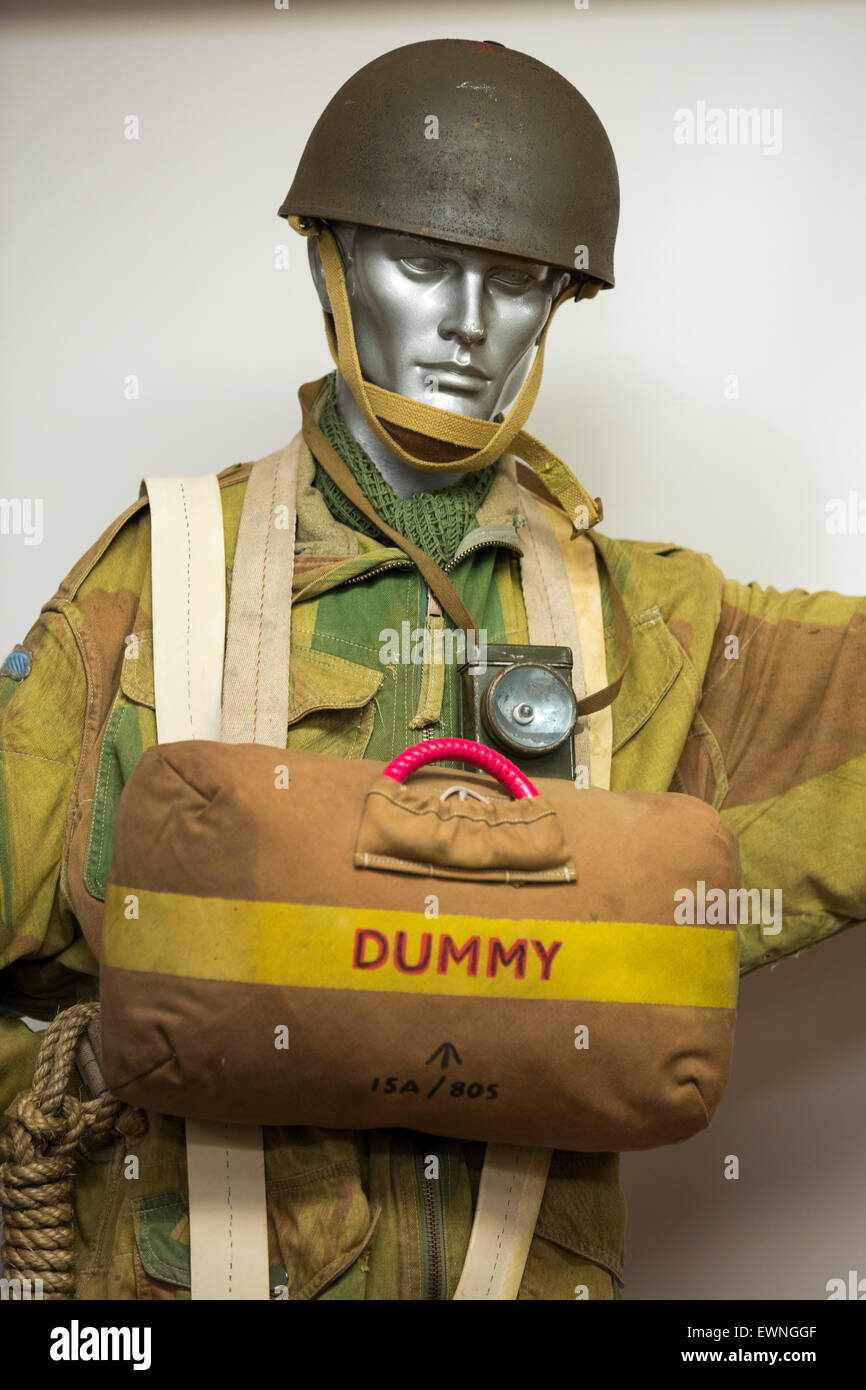 A British Army Paratroopers uniform from the 1960's in a museum at Balallan on the Isle of Lewis, Outer Hebrides, - Stock Image