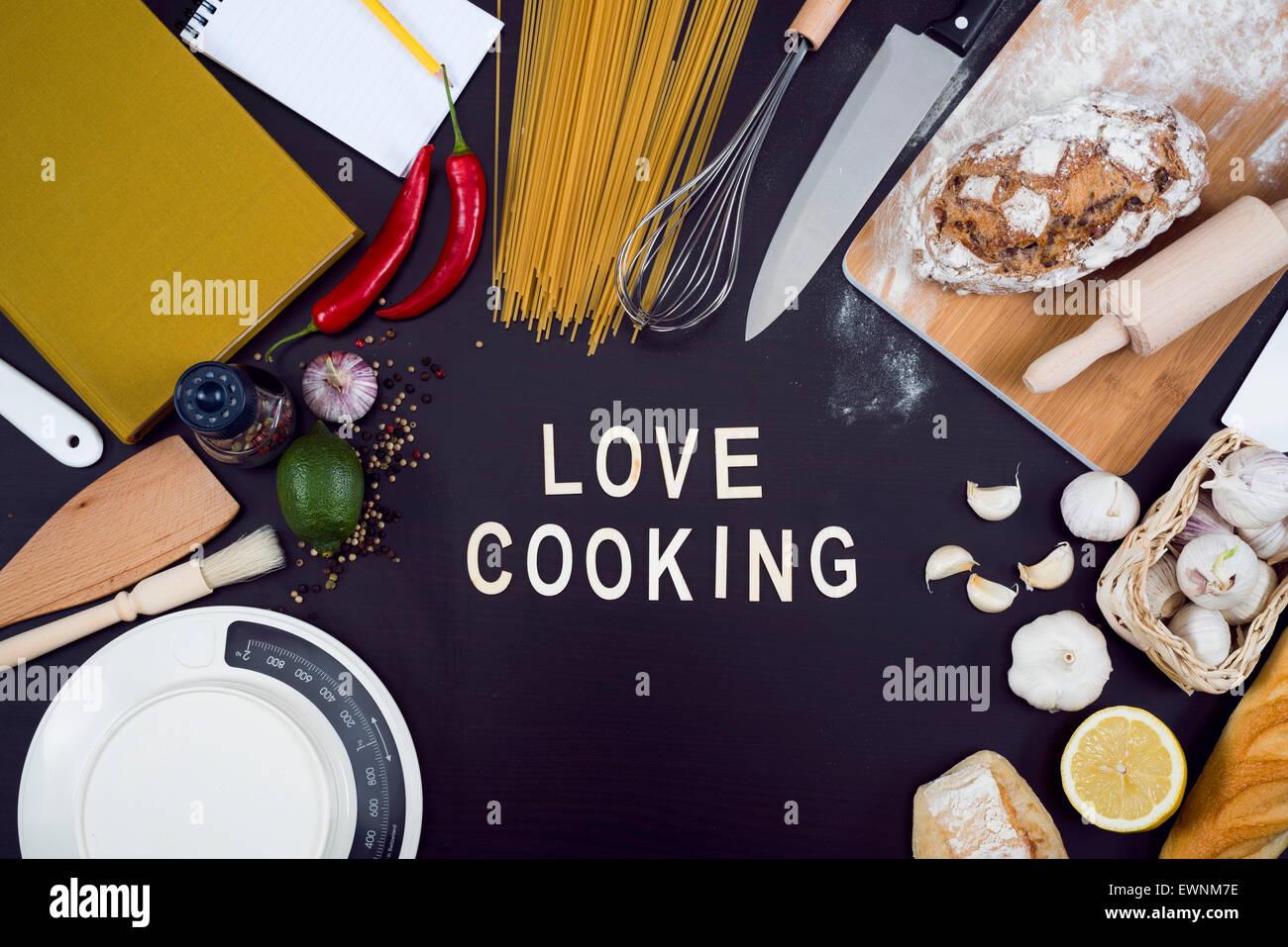 Love cooking hero header for restaurant or cooking website - Stock Image