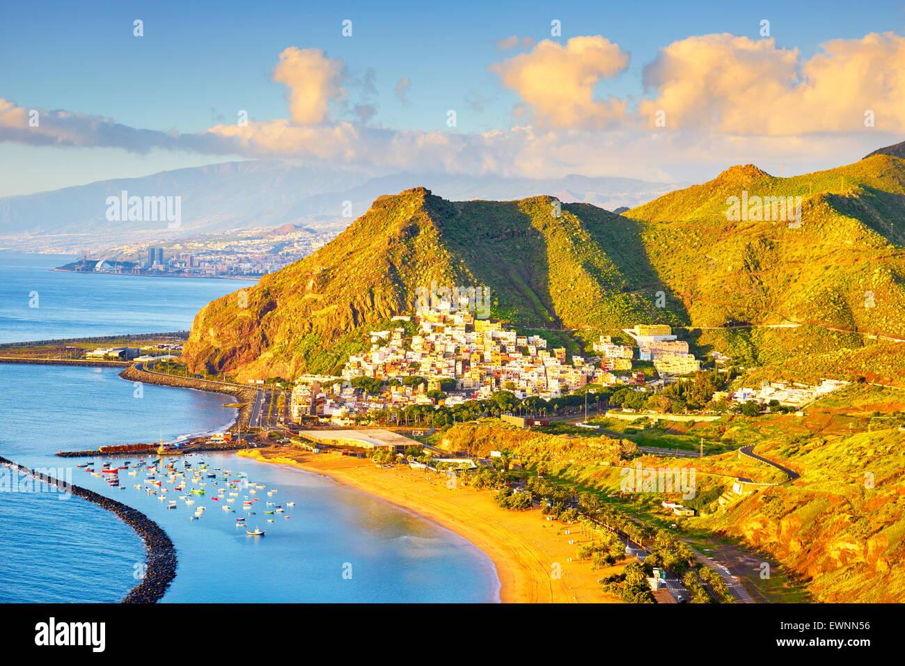 Tenerife - Teresitas Beach and San Andres Village, Canary Islands, Spain - Stock Image