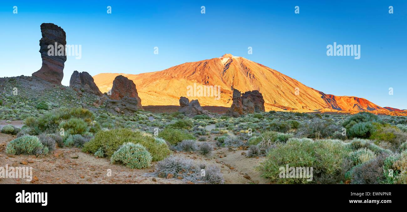 Tenerife, panoramic landscape view of Roques de Garcia and Mount Teide, Canary Islands, Spain - Stock Image