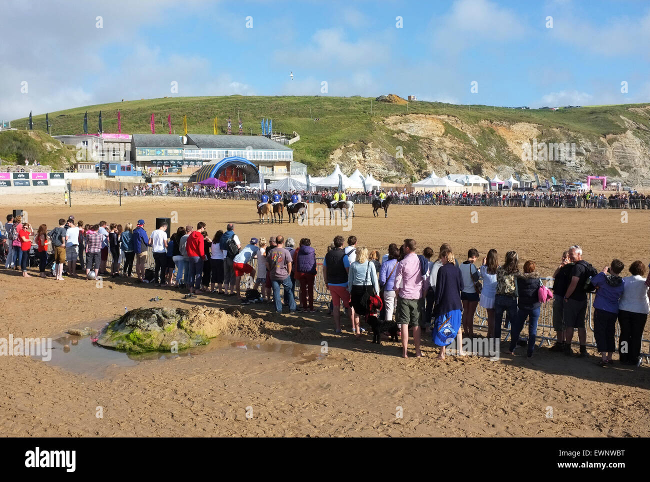 Spectators watching the annual ' Polo on the beach ' match at Watergate Bay near Newquay in Cornwall, UK - Stock Image
