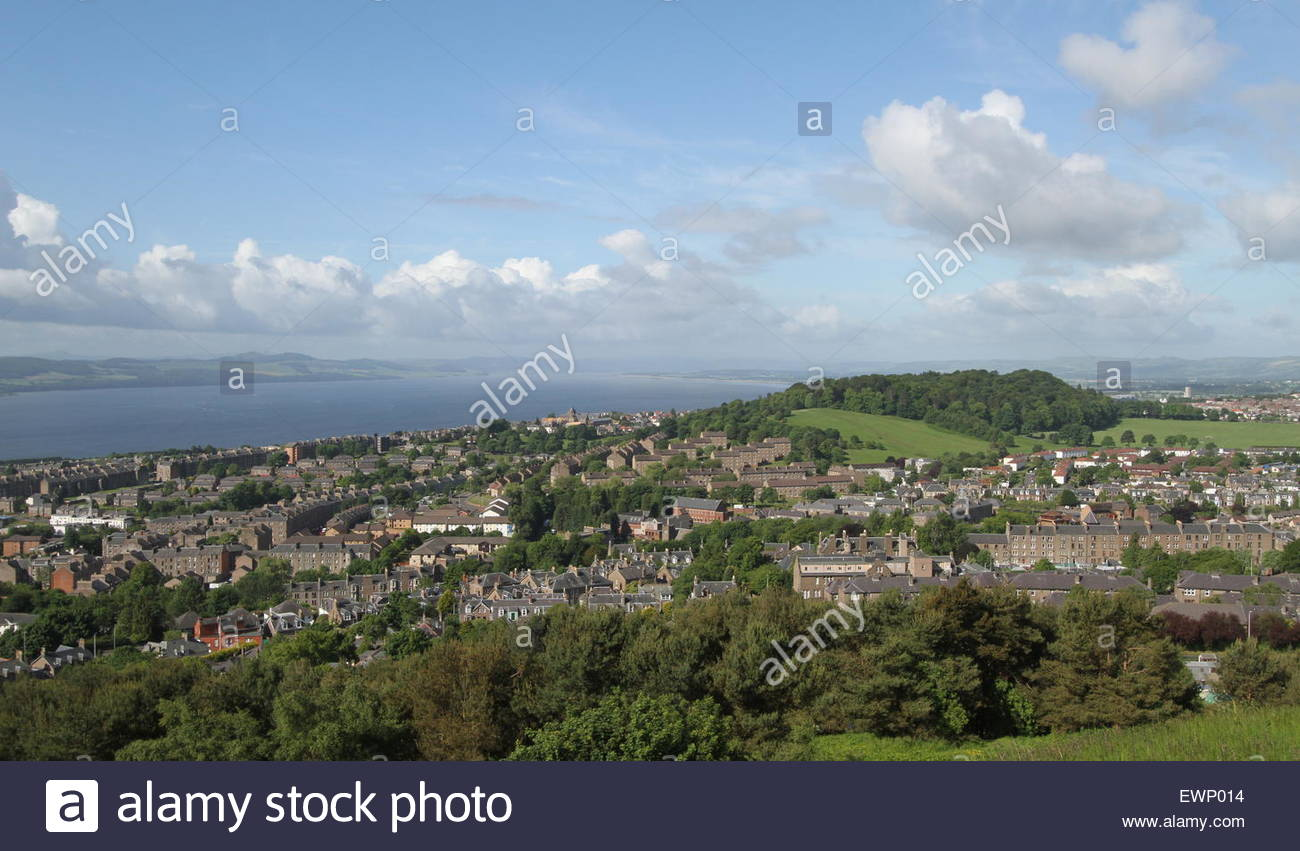 Elevated view of Dundee including Balgay Hill and Lochee Park Scotland June 2015 - Stock Image