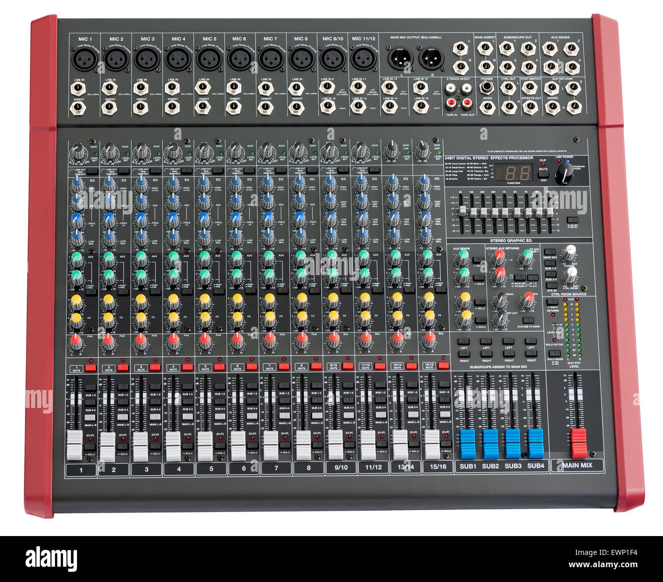 Professional Mixing Console. Music Device Isolated on White Background - Stock Image