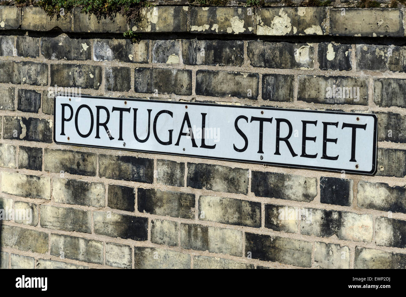Portugal Street road sign on a brick wall in Cambridge Stock Photo