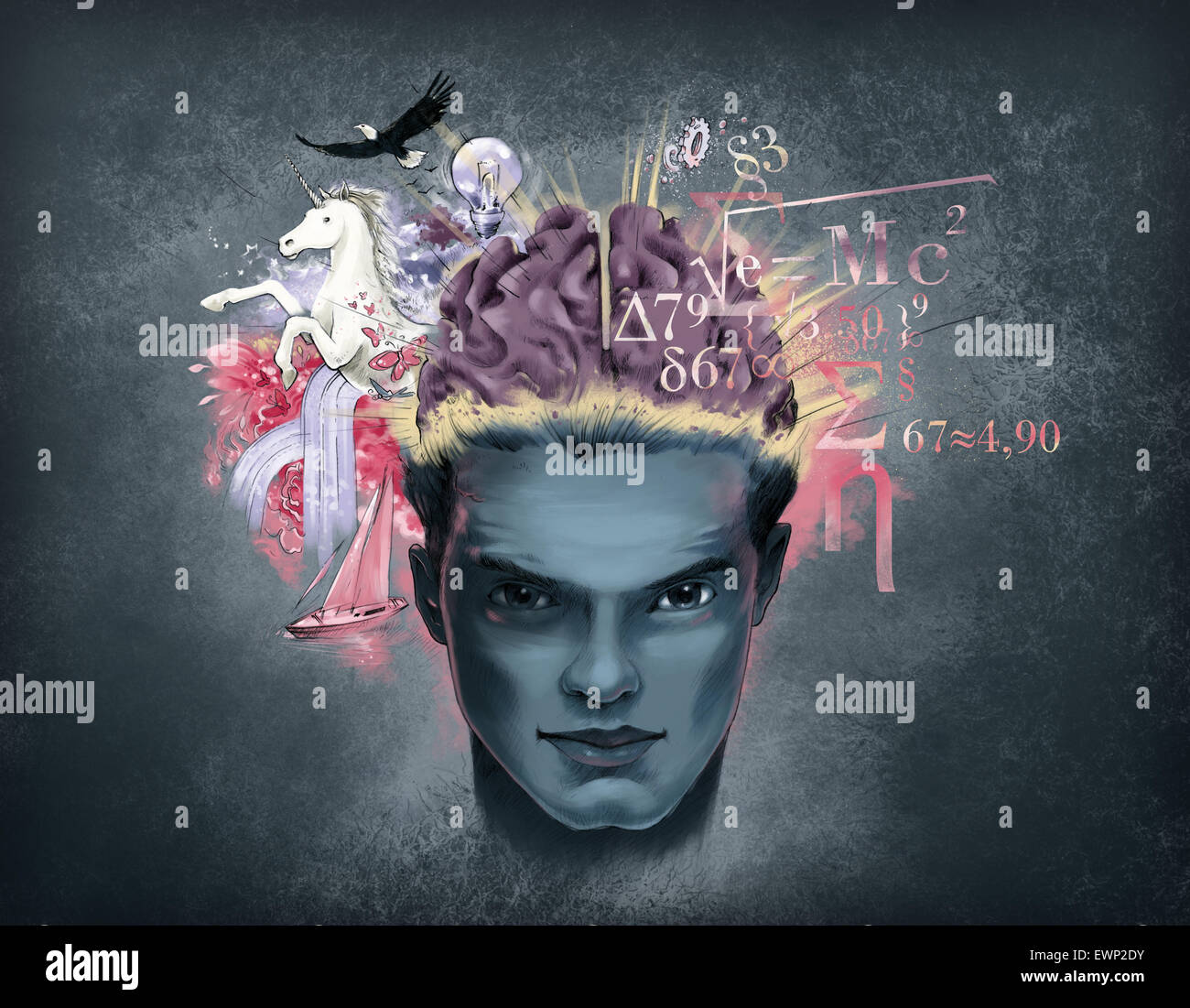Illustrative representation of brain mechanism - Stock Image
