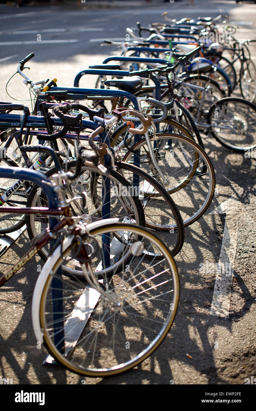 Bike rack filled to capacity - Stock Image