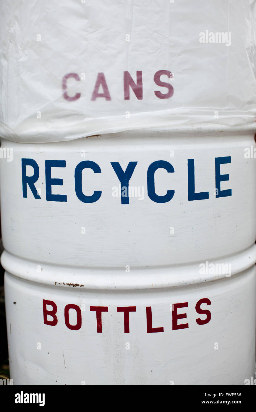 A trash can reading Recycling, Bottles, Cans - Stock Image