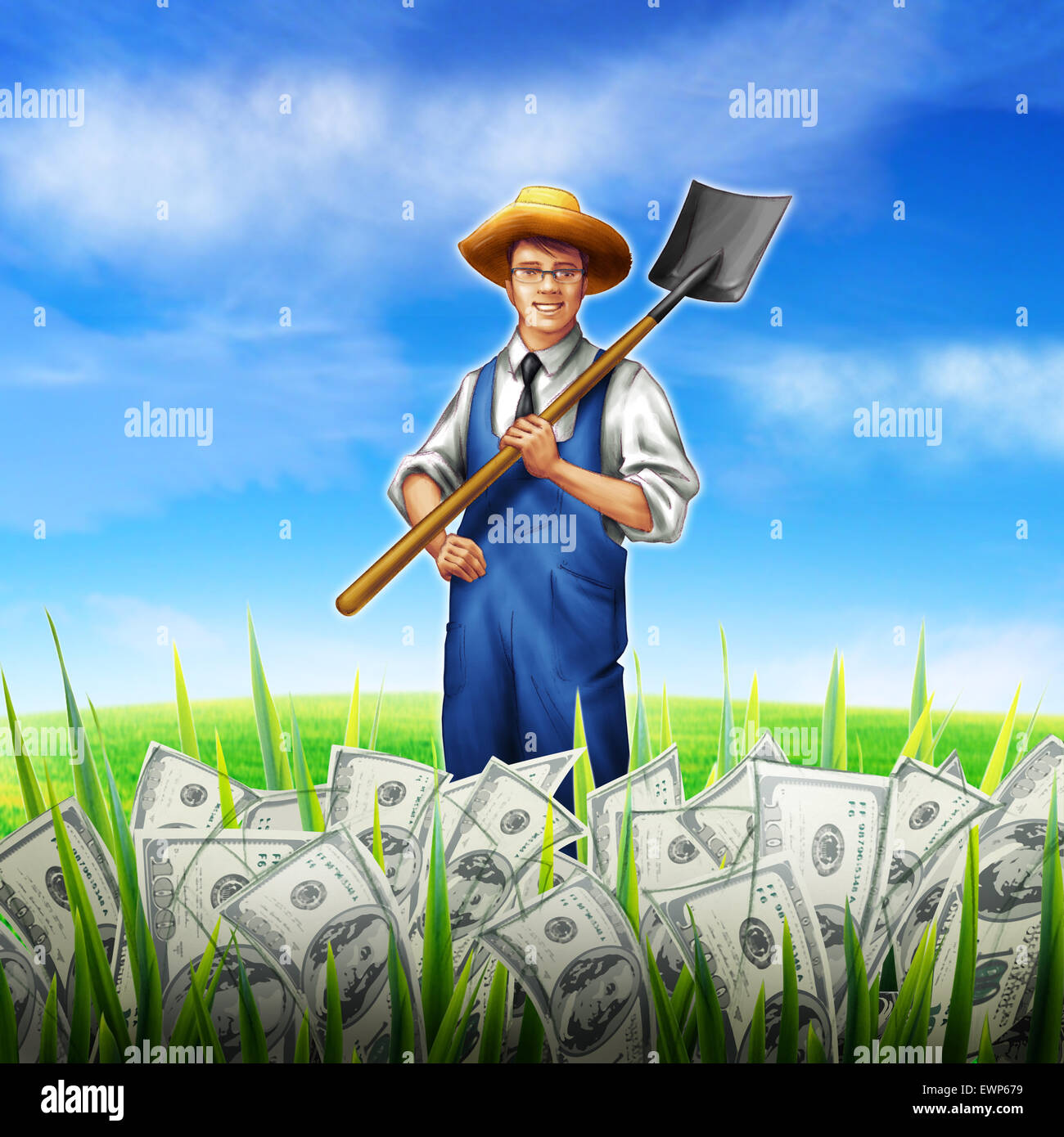 Businessman holding shovel growing money on his field - Stock Image